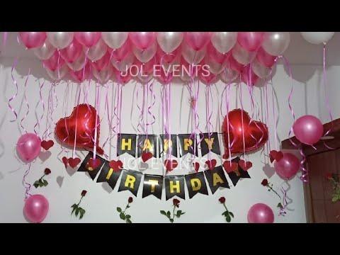Birthday Decoration Ideas At Home Surprise Room Romantic Balloon Youtube