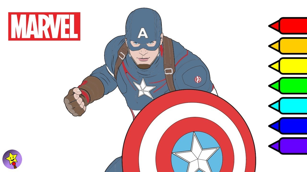 Marvel Avengers Coloring Book Captain America Coloring Page Marvel ...