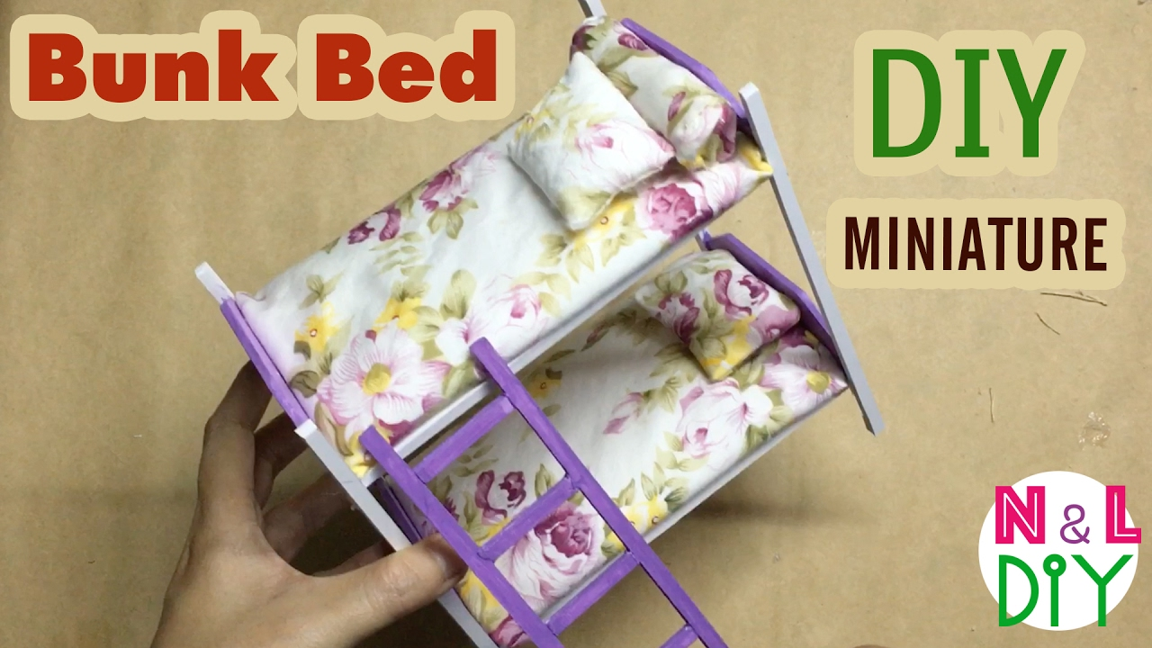 Diy Miniature Bunk Bed Dollhouse Youtube