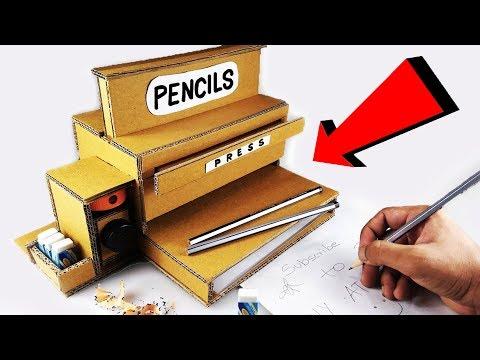 How to make Pencil Dispenser Sharpener Machine from Cardboard DIY at Home