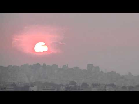Sunset in Athens . ηλιοβασίλεμα στην Αθήνα (real rate)