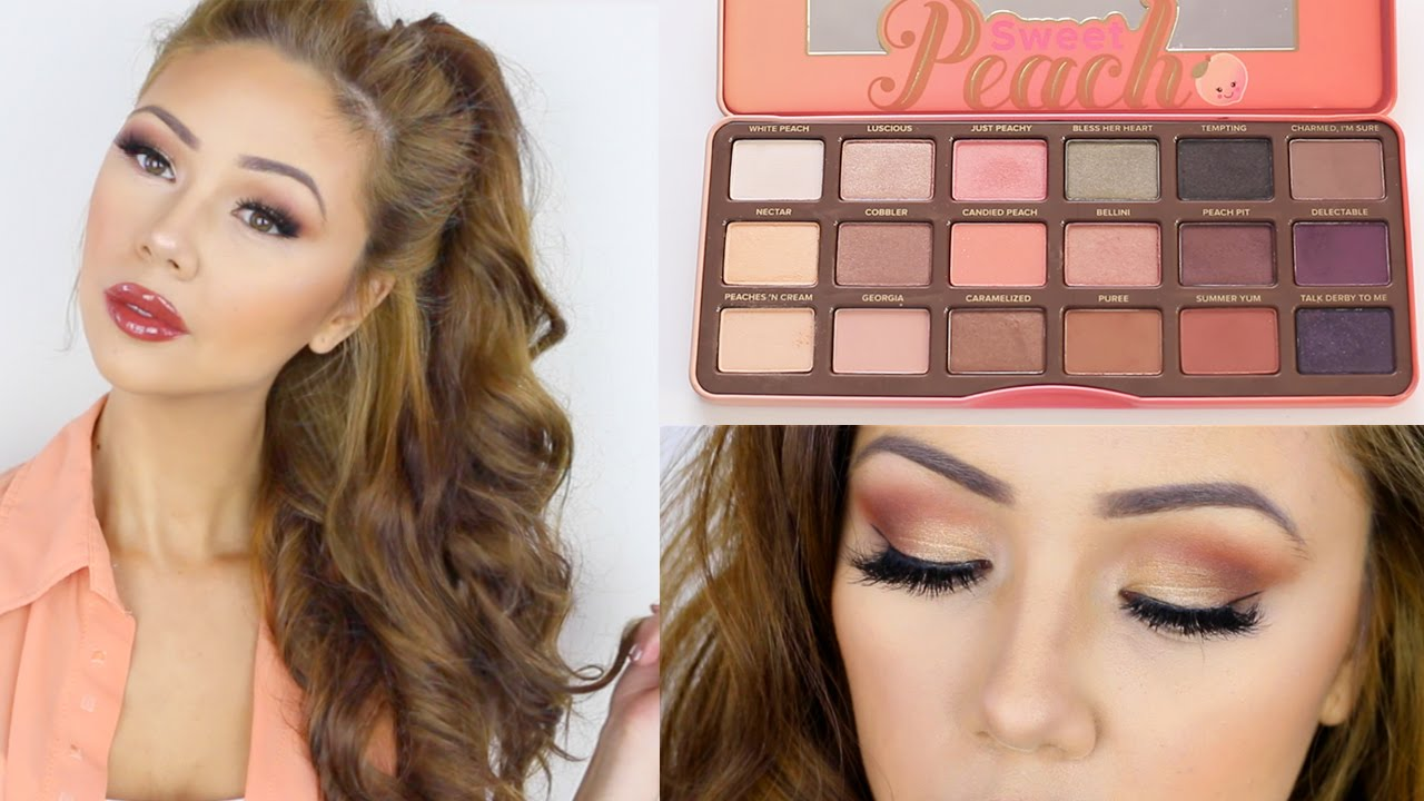Too Faced Sweet Peach Palette Look Makeup Tutorial Youtube