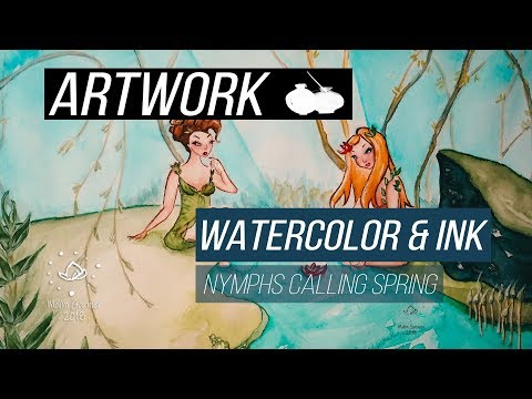 "Watercolor illustration ""Nymphs calling spring"" timelapse work in progress"