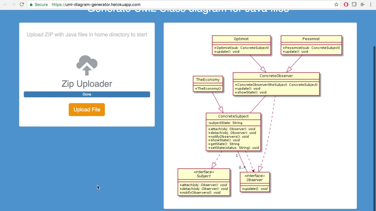 web app for uml class diagram generator [ 1280 x 720 Pixel ]