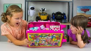 HUGE Neon Star Surprise Toys Suitcase Shopkins Barbie Disney Unicorno Fun Girls Toys Kinder Playtime