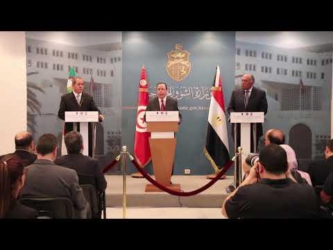 الاجتماع الوزاري التشاوري السابع لوزراء خارجية تونس والجزائر ومصر حول ليبيا