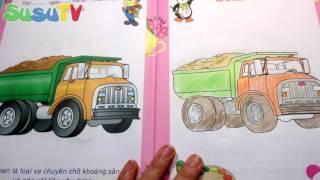 Đồ Chơi Cho Bé Mẫu Giáo | Bé Tập Tô Màu Xe Ô Tô Ben | Coloring Books Toys Car Trucks