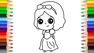怎样画简单可爱的白雪公主 let