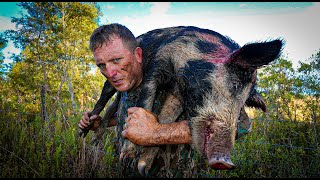 TRAPPING 4 Massive Boars in 1 HOME-MADE trap!!! {Catch Clean Cook} Bar B Q Bacon Wrapped