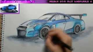 Nissan GT-R / Fast and furious 6 / Speed drawing