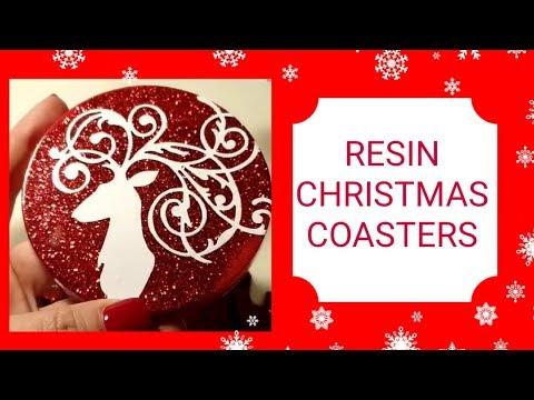 Epoxy RESIN Christmas coasters and NOEL decor