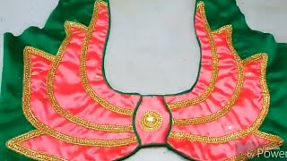 blouse back neck design  /lotus flower design
