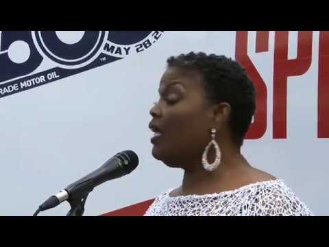 Angela Brown sings God Bless America before the Indy 500