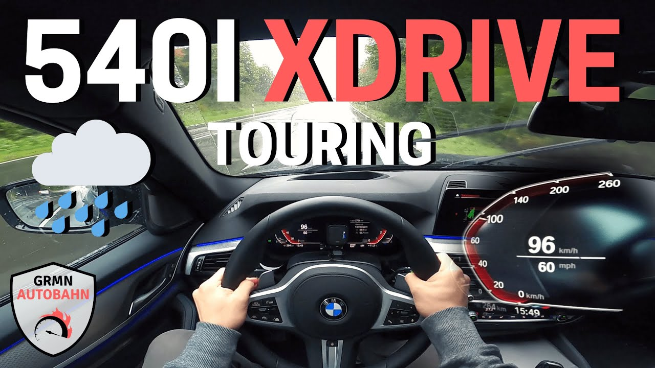 *RAINY DAY* 2020 BMW 540i xDrive Touring G31 340HP POV | AUTOBAHN 0-100km/h ACCELERATION (60FPS)