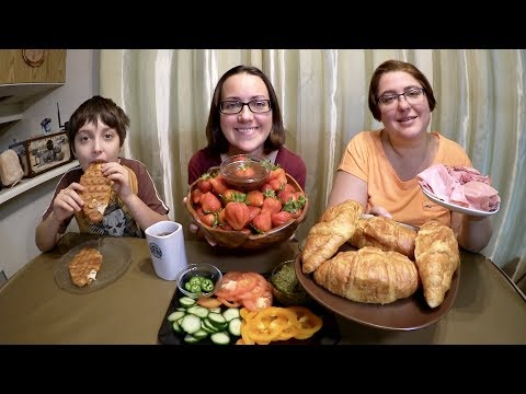Strawberries Dipped In Chocolate And Croissant Sandwich | Gay Family Mukbang (먹방) - Eating Show