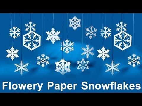 DIY Flowery Paper Snowflakes - 3D Paper Snowflake Tutorial - DIY Crafts