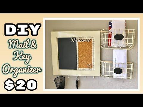DIY Mail and Key Organizer with chalkboard | Budget Friendly