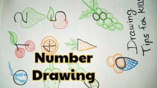 Number drawing TIPS for KIDS and PARENTS- Learn Fruits & Vegetables Drawing with Numbers