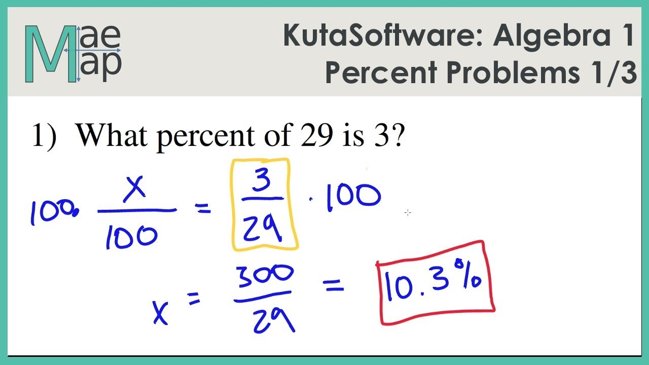 KutaSoftware: Algebra 1- Percent Problems Part 1 - YouTube
