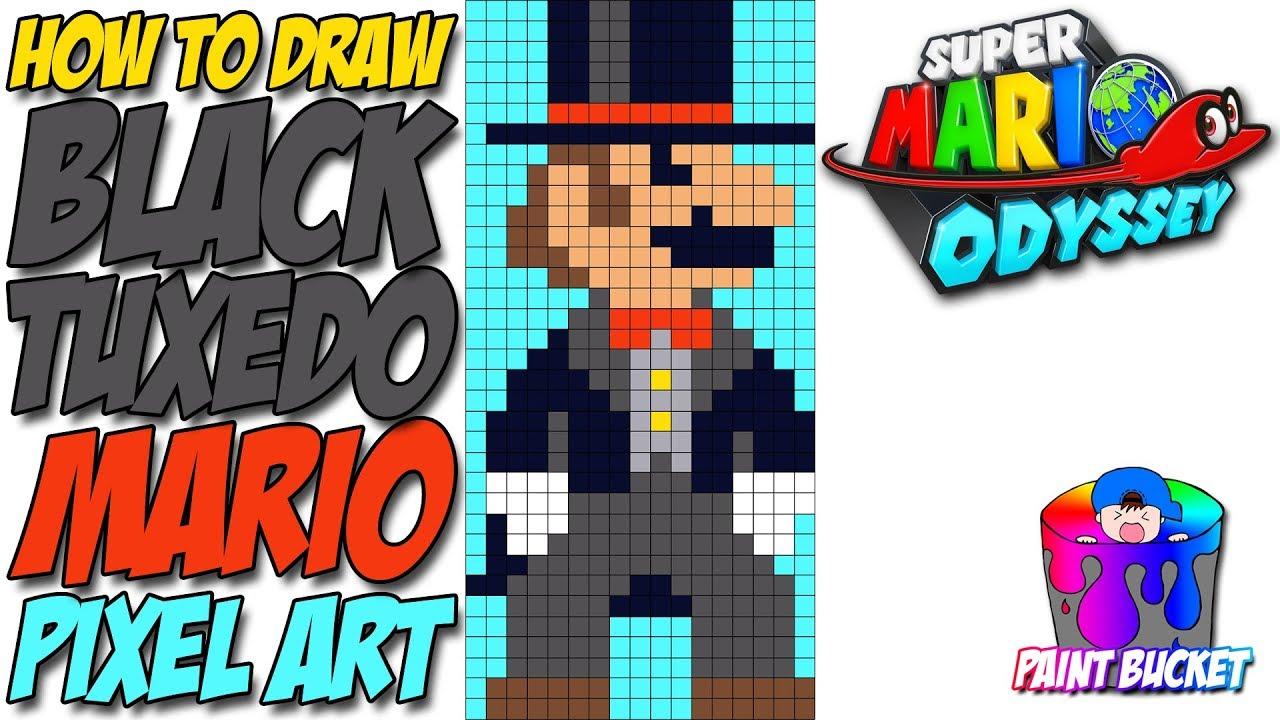 How To Draw Super Mario Odyssey Black Tuxedo Mario 8 Bit Mario Pixel Art Drawing Tutorial