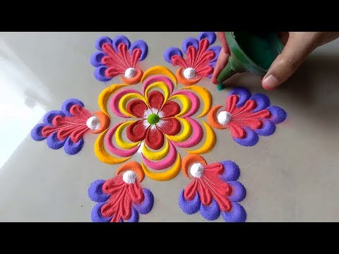 Very Very New latest Beautiful attractive Rangoli Design By Bucketful creation