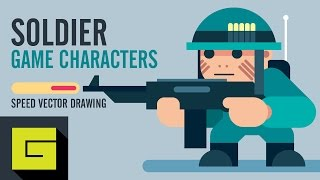 Speed Drawing, How to draw Game Character, Soldier, Adobe Illustrator Tutorial