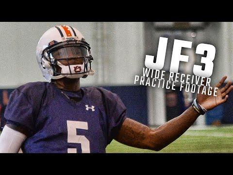 Watch Auburn quarterback John Franklin III run drills as a wide receiver