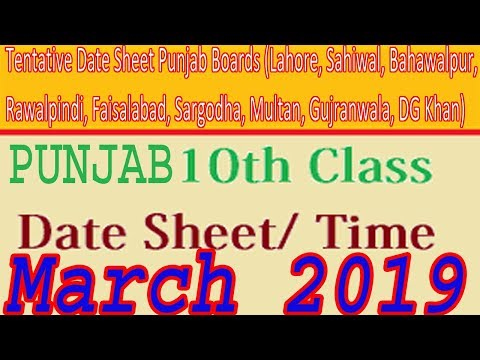 Latest Matric Date Sheet Of 10th Class 2019 Punjab Education Boards