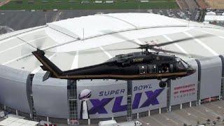 国境警備局のUH-60ブラックホーク(NFLスーパーボウルの会場を警備)