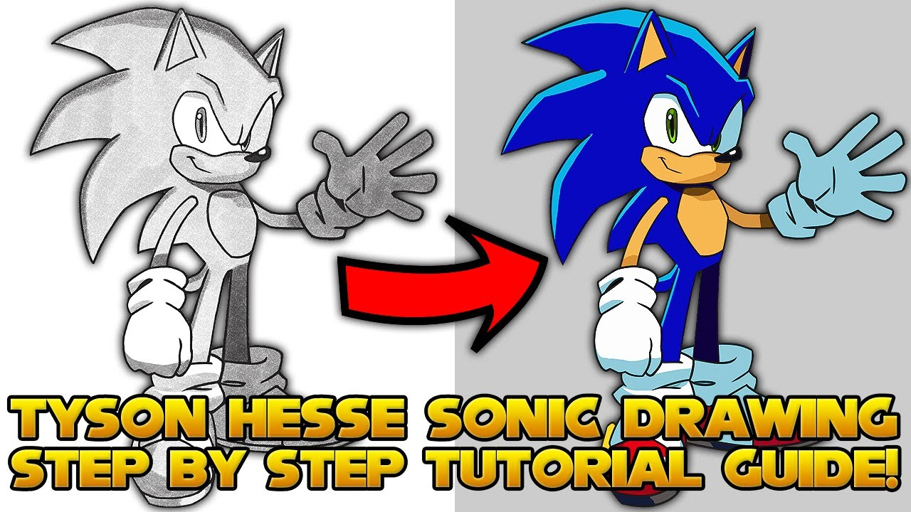 How To Draw Sonic Step By Step Tutorial In Depth Guide Tyson Hesse Modern Sonic Style Youtube
