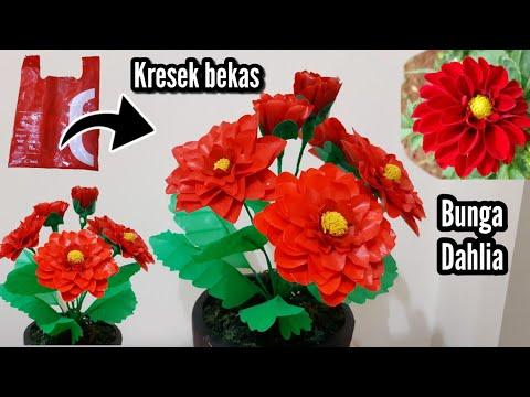 Bunga Dahlia Dari Plastik Kresek Bekas | DIY Beautiful Flower Plastic Bag Used /waste