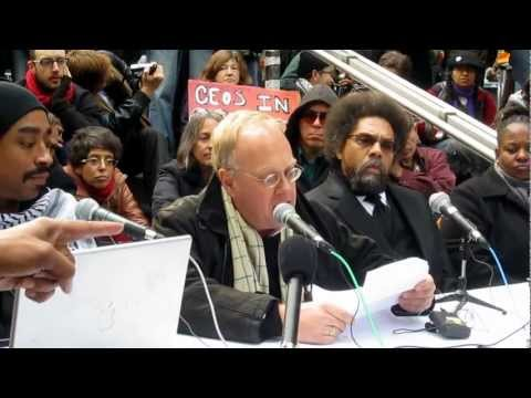 Cornel West Chris Hedges at Goldman Sachs Mock Trial Occupy Wall St Nov 3 2011 people's hearing