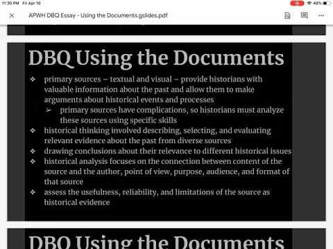 APWH DBQ Essay Using the Documents