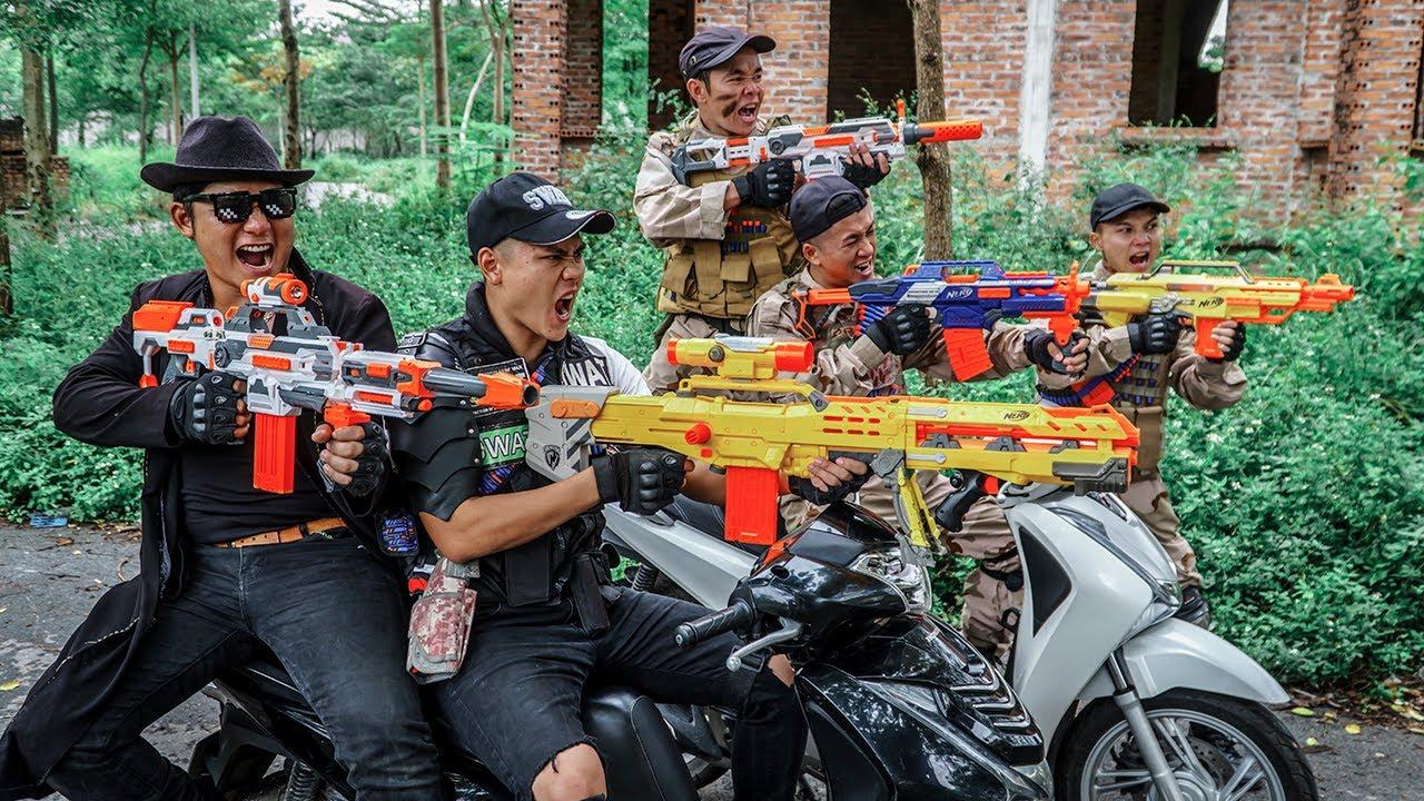 LTT Game Nerf War : Warriors SEAL X Nerf Guns Fight Crime Group Rocket Bandits Motorcycle