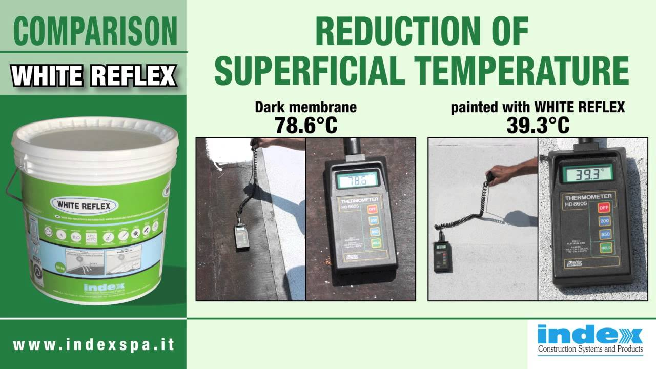 Pittura Contro L' White Reflex Index Spa White Paint For Superficial Temperature Reduction Of Roof