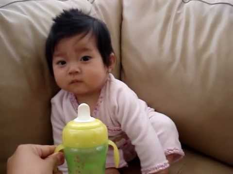 6 month old girl kaitlyn drinking water in sippy cup for first time youtube. Black Bedroom Furniture Sets. Home Design Ideas