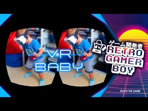Baby trying out VR for the first time.