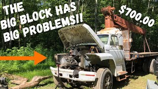 Tearing down a BIG BLOCK in the middle of the woods!! $700 Auction Crane has BIG Problems!