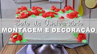 BOLO DE ANIVERSÁRIO SIMPLES E FÁCIL | PARTE 2 - MONTAGEM E DECORAÇÃO | Menino Prendado