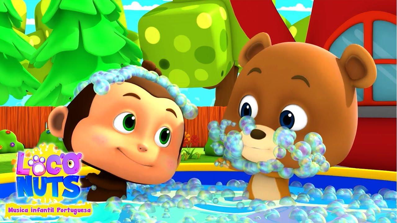 Canção do banho   Musica infantil portuguesa   Animação   Loco Nuts   Poemas para crianças