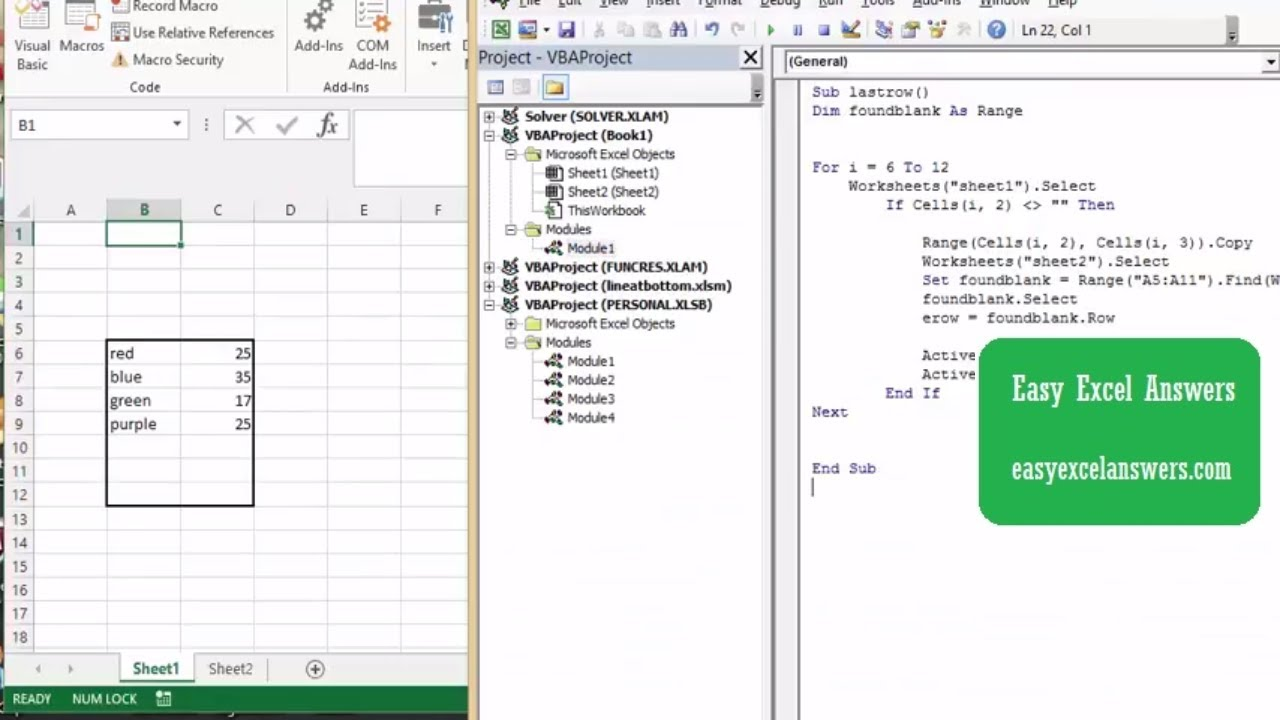 How to find the first blank row in a range in Excel