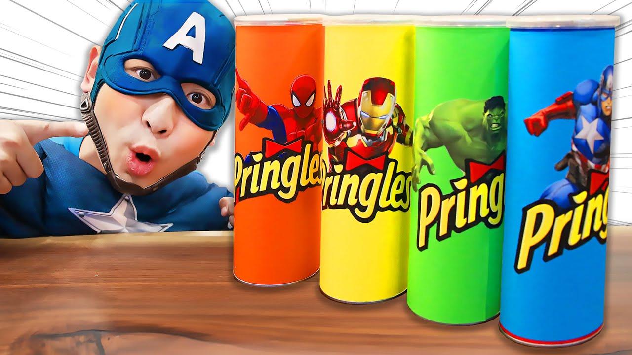 Making Pringles with Superheros dance!│프링글스 그림 그리면 슈퍼히어로 댄스 춤 춘다고?!│럭키강이 LuckyKangi