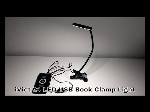 ivict-24-led-usb-book-clamp-light-with-3-color-modes,-dimmer,-flexible-gooseneck-unboxing-and-review