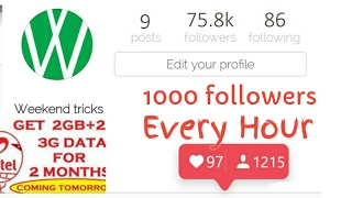 Get 1000 Instagram Followers Every Hour Without Following Anybody   Great Trick  Never Done Anywhere