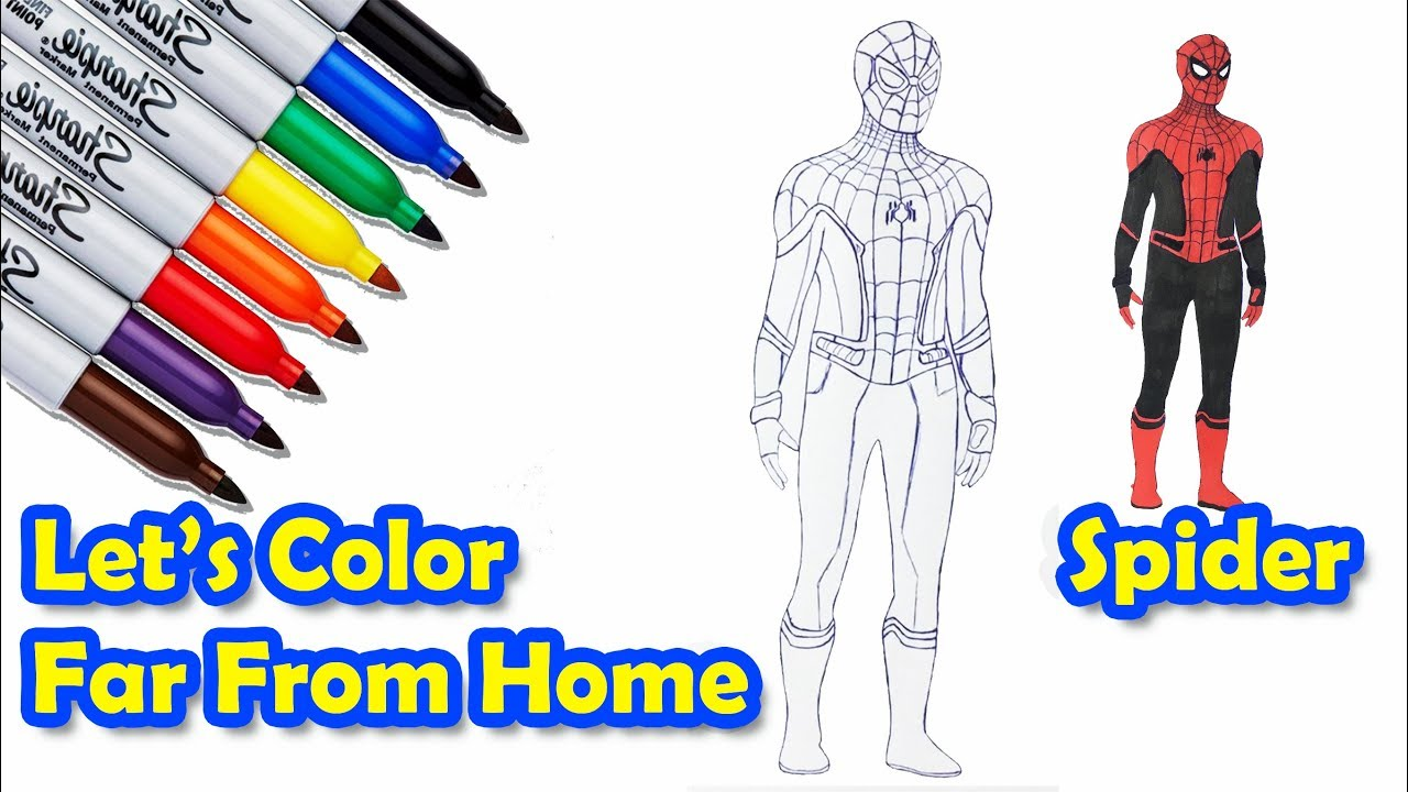 Spider Man Far From Home Color From Pen Draw Coloring Pages Sailany Coloring Kids