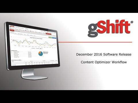 gShift December 2016 Software Release Content Optimizer Workflow