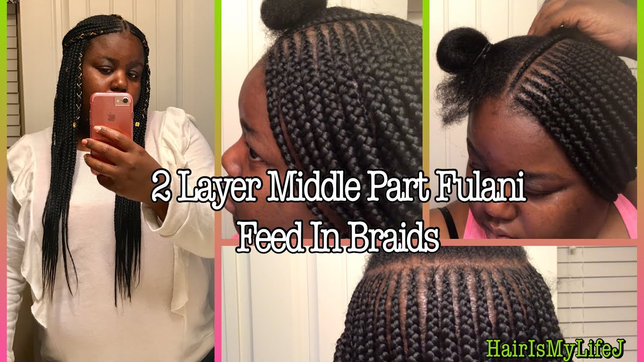 2 layer middle part fulani/tribal feed in braids