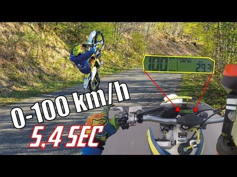 Test 0-100 km/h + Wheelie | Husqvarna te 125 2016
