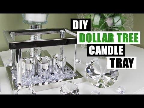 DIY DOLLAR TREE GLAM CANDLE TRAY Dollar Store DIY Candle Holder Bling Display DIY Glam Room Decor