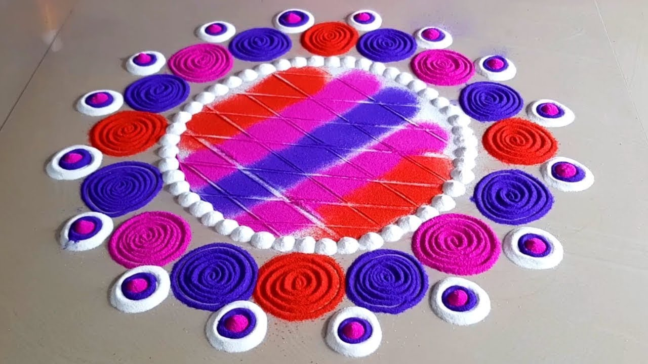 इस दिवाली पर बनाये प्यारी सी रंगोली। Diwali special easy rangoli design from tools at home 2020